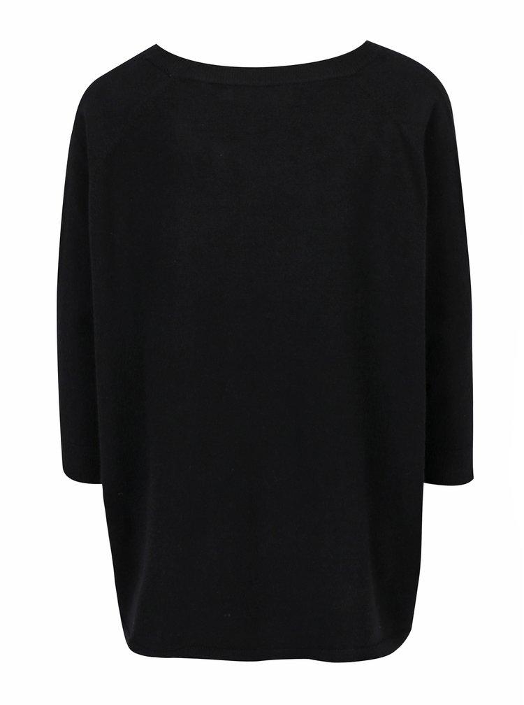 Černý oversized svetr s 3/4 rukávy VERO MODA Karis
