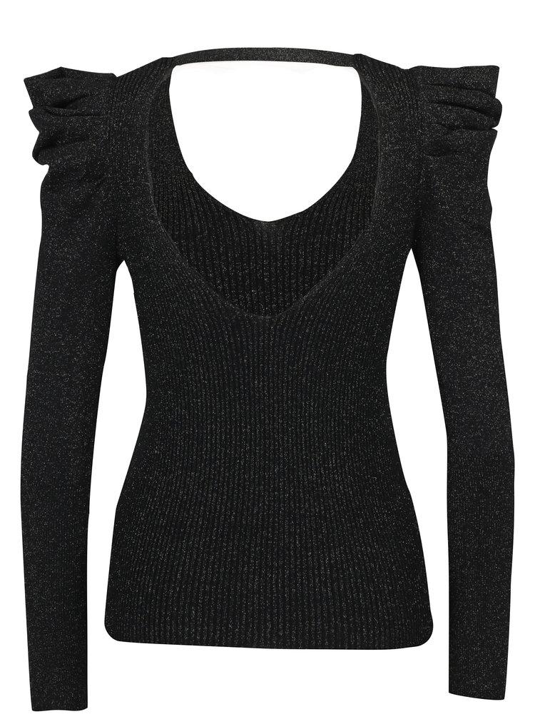 Černý třpytivý svetr s řasením na rukávech Miss Selfridge
