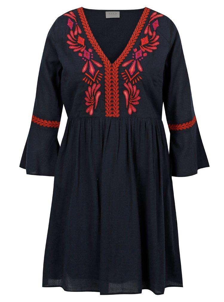 Tmavě modré šaty s výšivkou VILA Anaya