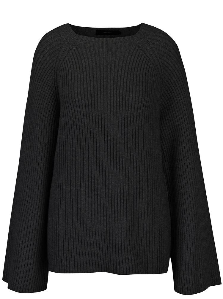 Černý žebrovaný svetr s širokými rukávy VERO MODA Camarillo