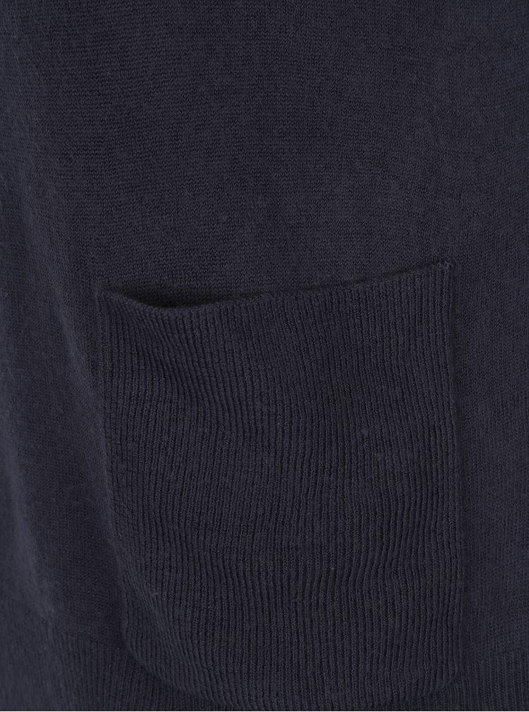 Tmavě modrý svetr se stojáčkem a kapsami VERO MODA Sami