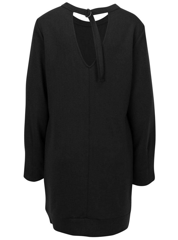 Černé mikinové žebrované šaty s průstřihem na zádech Jacqueline de Yong Boy