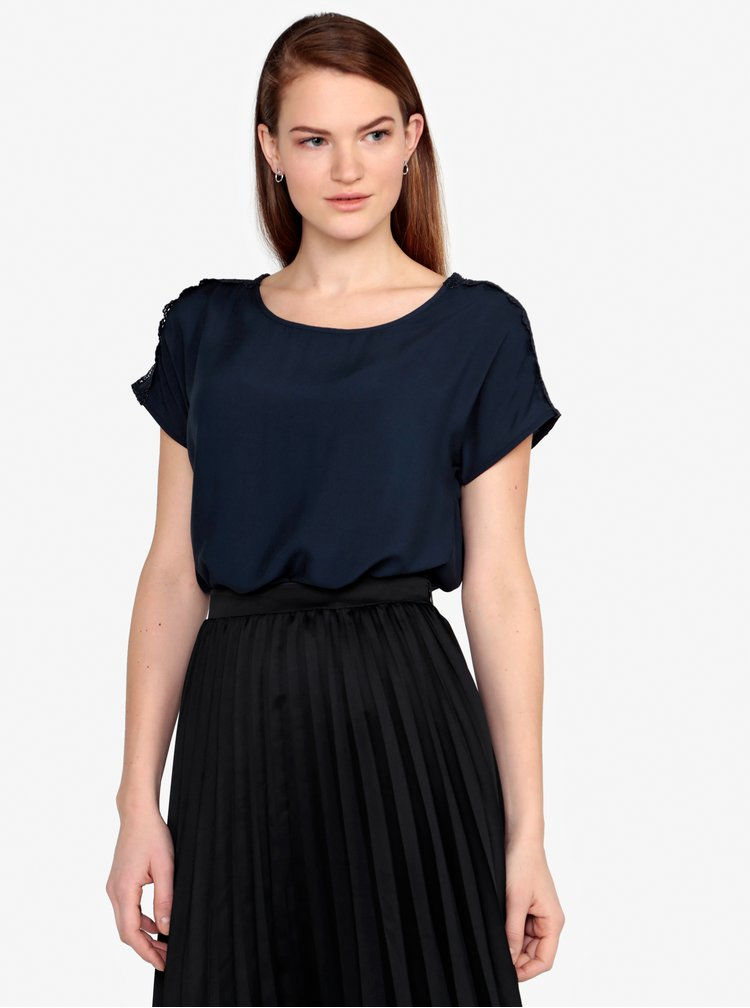 Tmavě modré tričko s krajkou na ramenou VERO MODA Lacey
