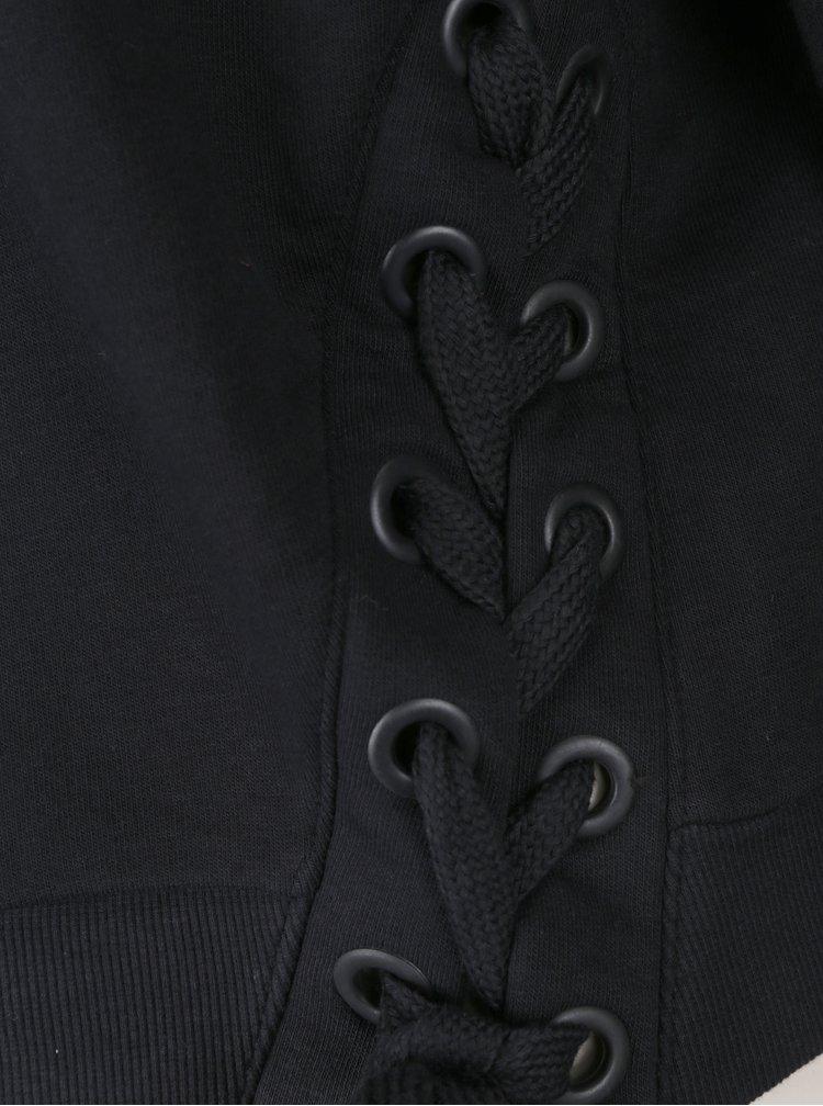 Černá volná krátká mikina se šněrováním TALLY WEiJL