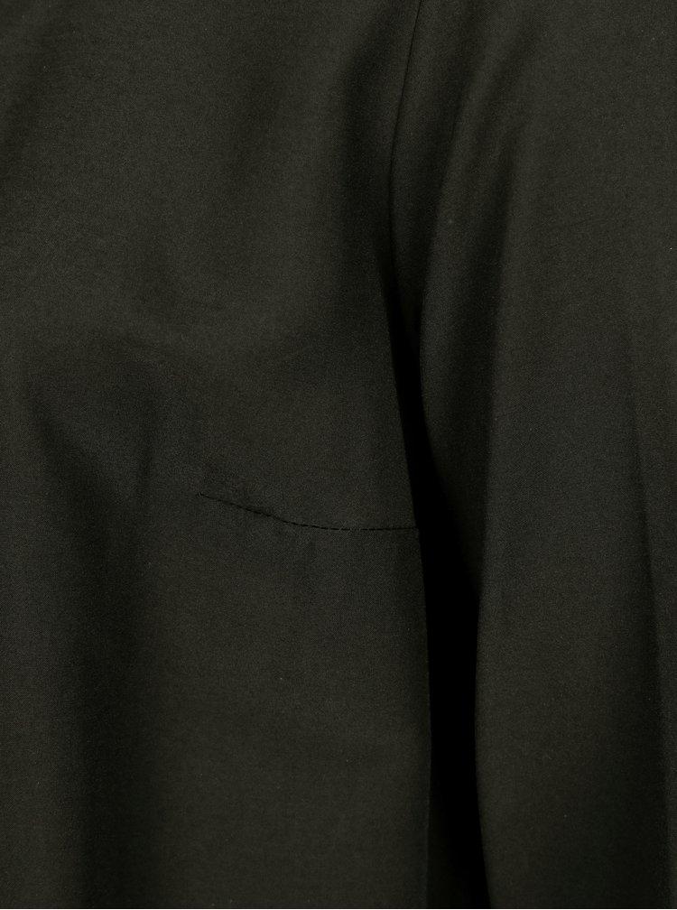 Černá halenka s řasením a dlouhým rukávem Ulla Popken