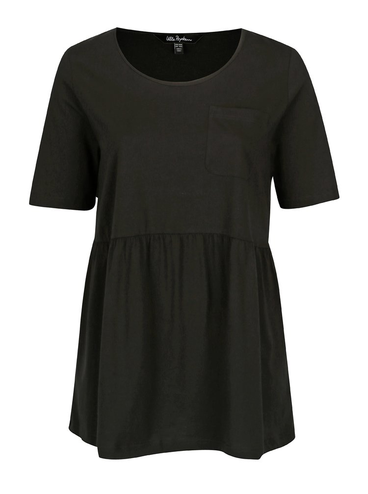 Černé tričko s náprsní kapsou Ulla Popken