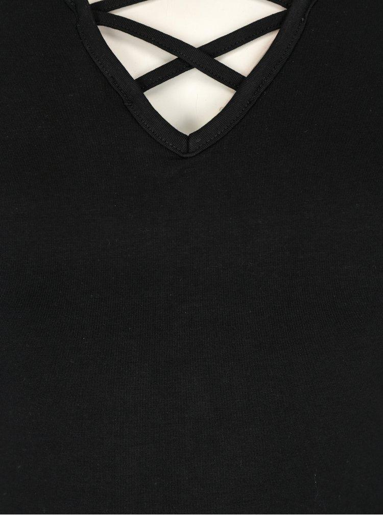 Tricou negru cu bretele  incrucisate - TALLY WEiJL