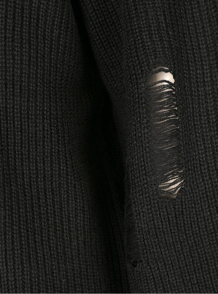 Černý svetr s potrhaným efektem ONLY Tanya