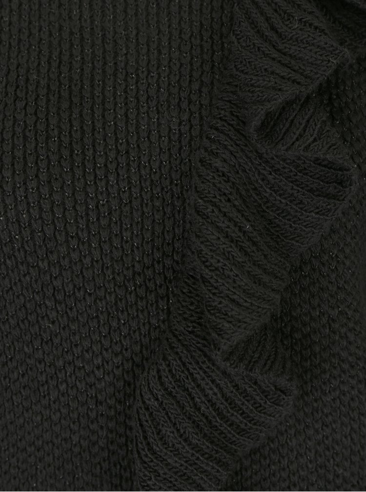 Černý rolák s volánem a metalickým vzorem ONLY Natali
