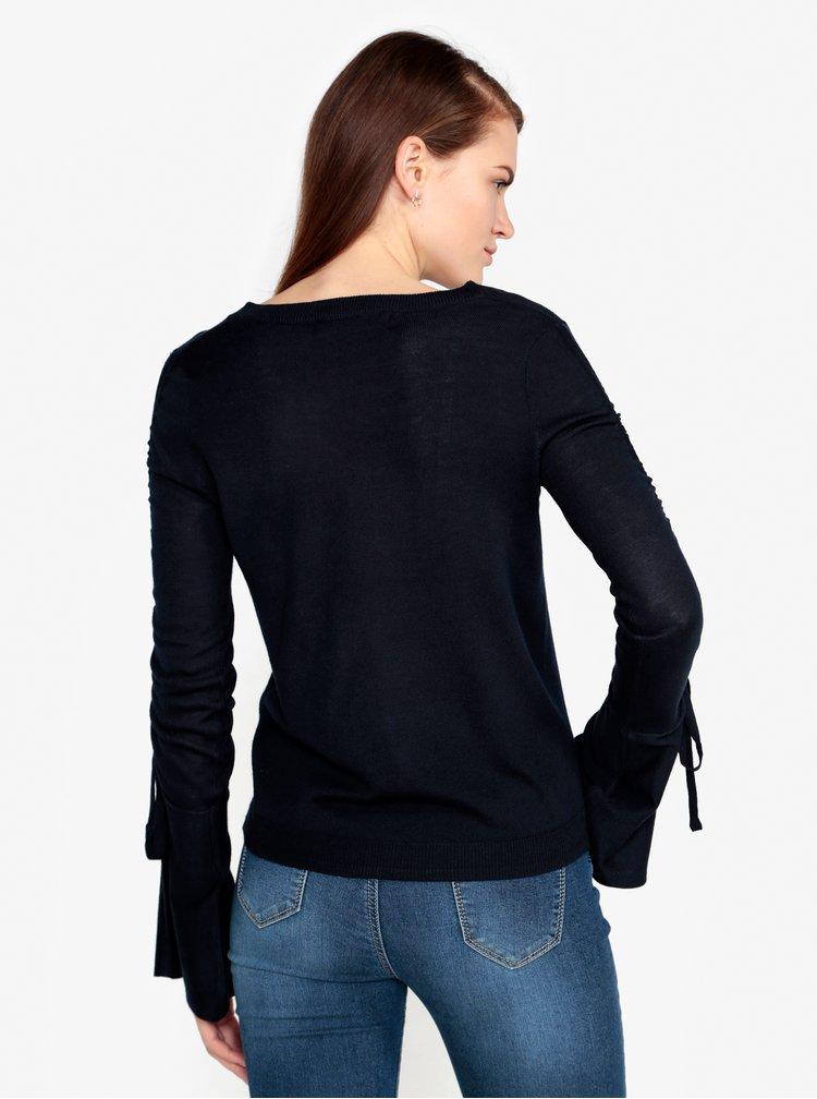 Tmavě modrý lehký svetr s řasením na rukávech VERO MODA Adriana