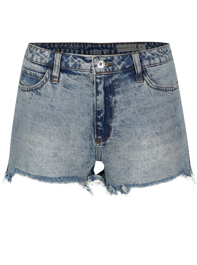 Modré džínové kraťasy s vysokým pasem VERO MODA Anna