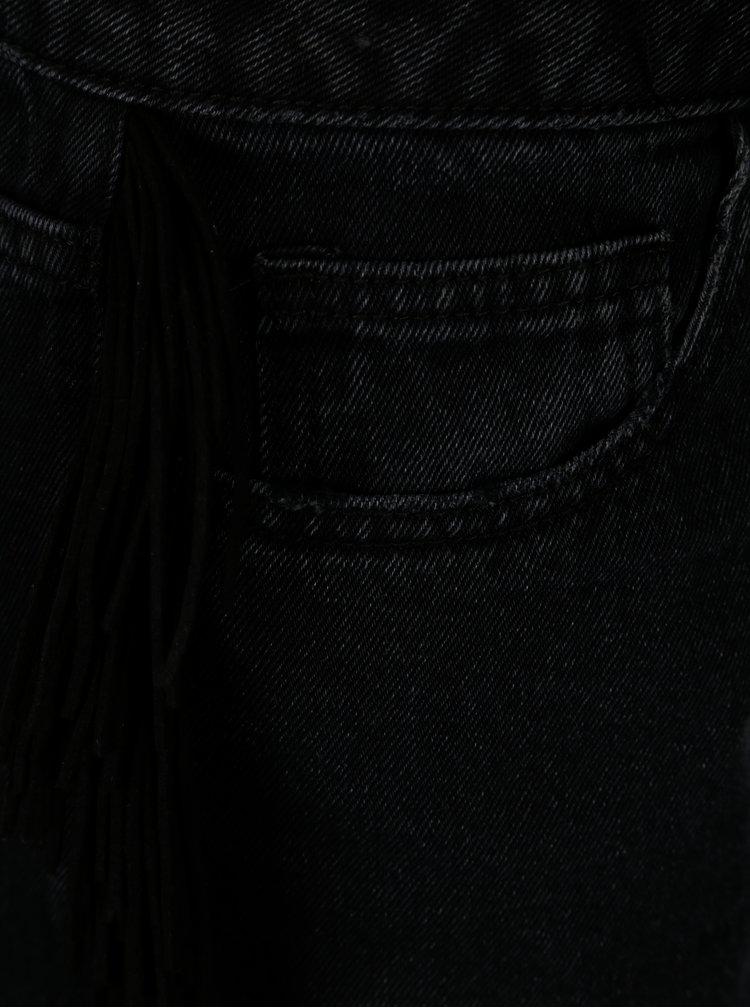 Černé džínové kraťasy s třásněmi a vysokým pasem VERO MODA Anna