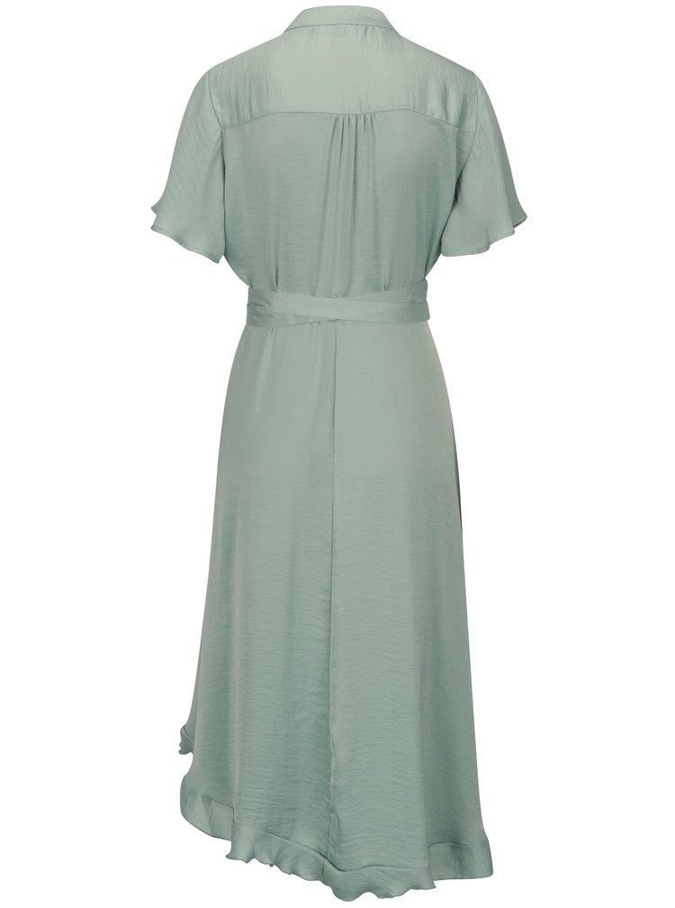 Světle zelené asymetrické zavinovací šaty VERO MODA Alanna