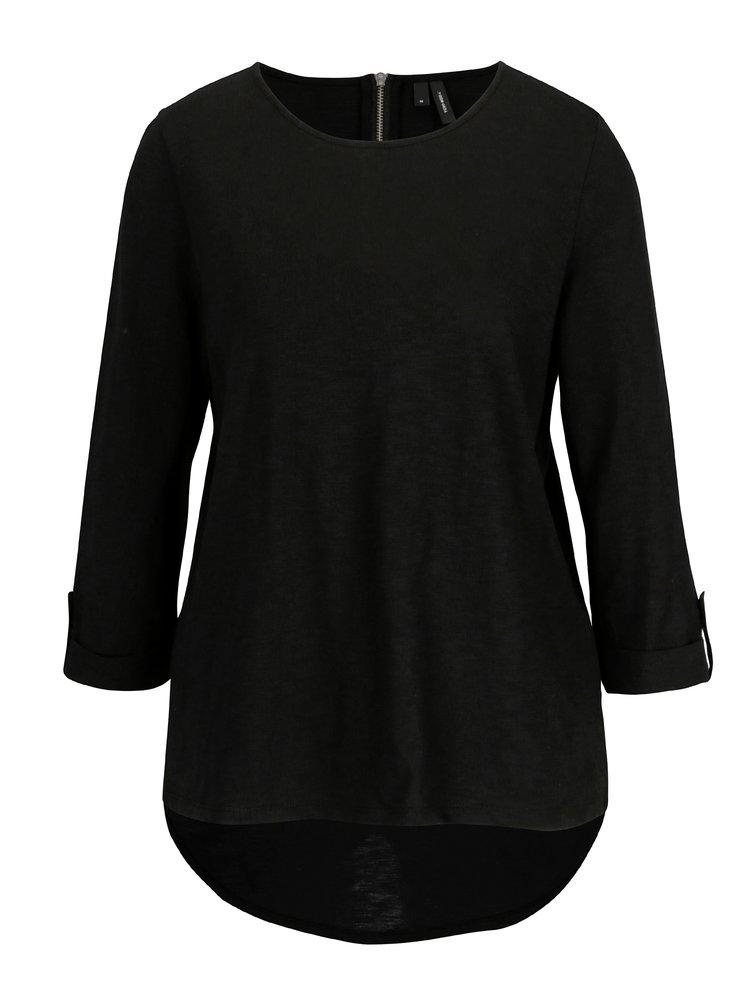 Černé tričko s 3/4 rukávem VERO MODA Malka