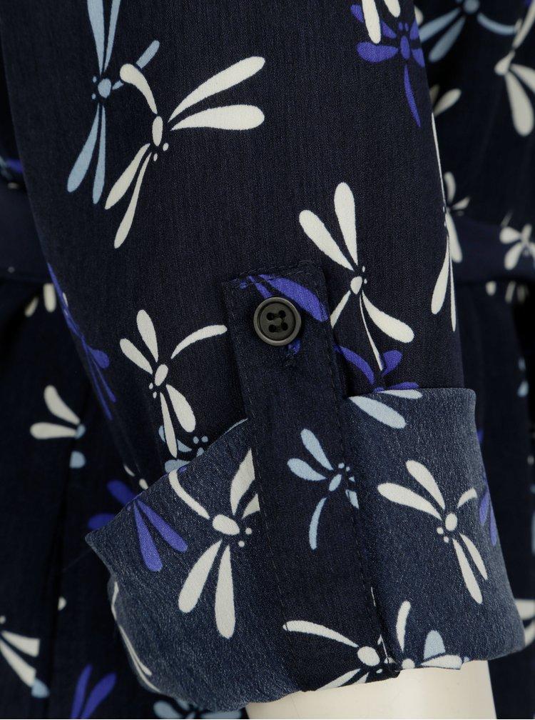 Tmavě modré košilové šaty s motivem vážek Smashed Lemon