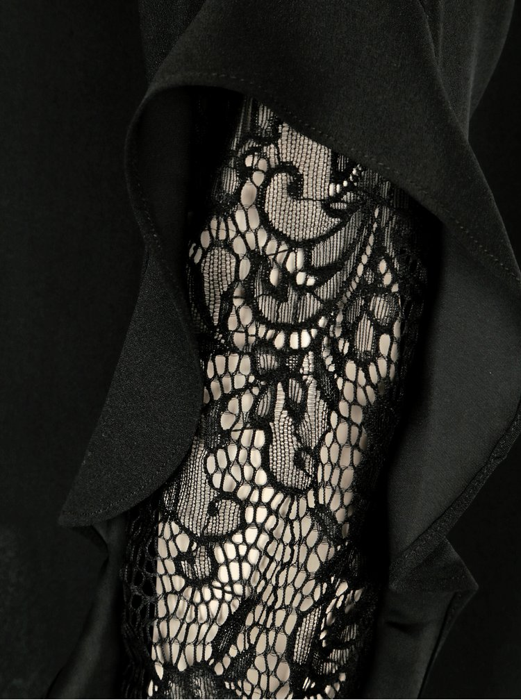 Černá halenka s krajkou na předloktí Dorothy Perkins
