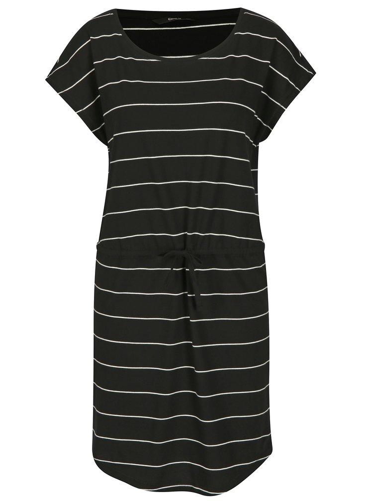 Černé pruhované šaty s krátkým rukávem ONLY May