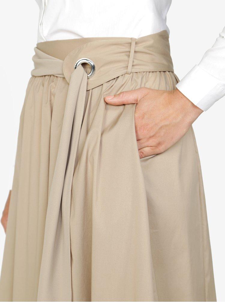 Béžová midi sukně Selected Femme Sabina