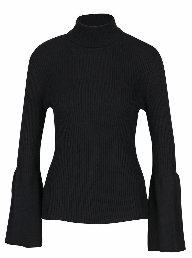 Černé žebrované tričko s rolákem ONLY Alma