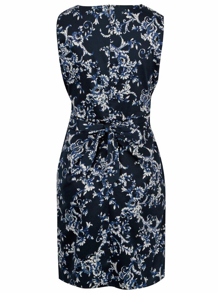 Tmavě modré květované šaty s řasením a kapsami Mela London