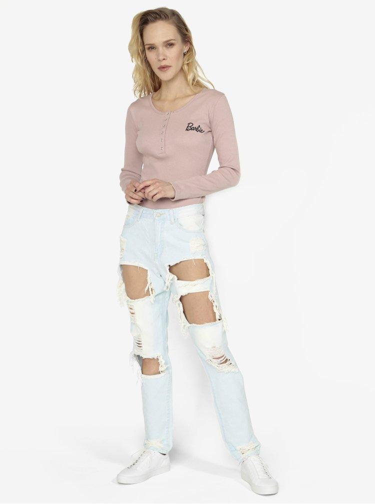 Světle modré mom džíny s dírami MISSGUIDED