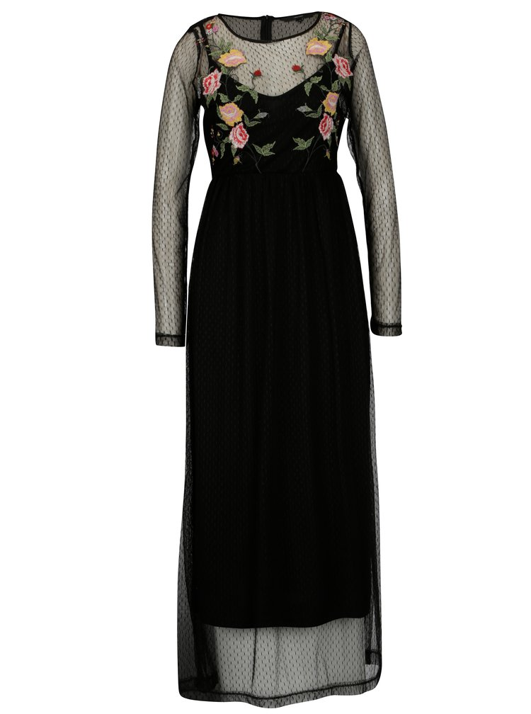 Čierne kvetované maxišaty 2v1 VERO MODA Layden