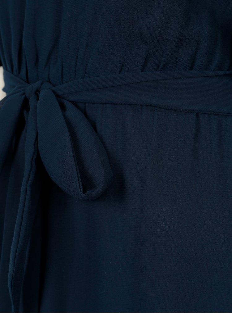 Tmavě modré maxišaty s volány a páskem Mela London