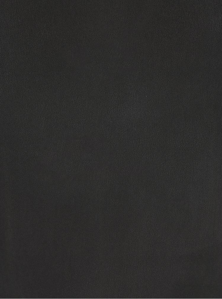 Černé hedvábné tričko s ozdobnou krajkou VILA Silk