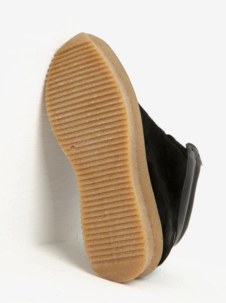Černé semišové kotníkové tenisky na platformě OJJU
