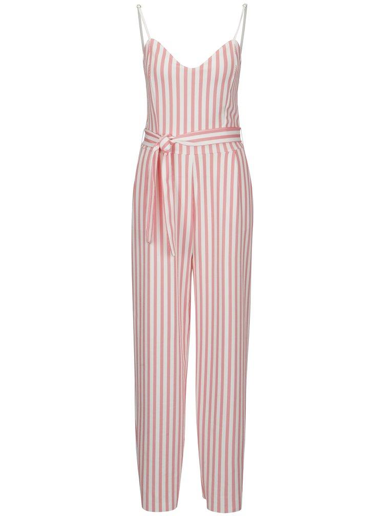 Salopeta in dungi roz cu alb si cordon ONLY Tina