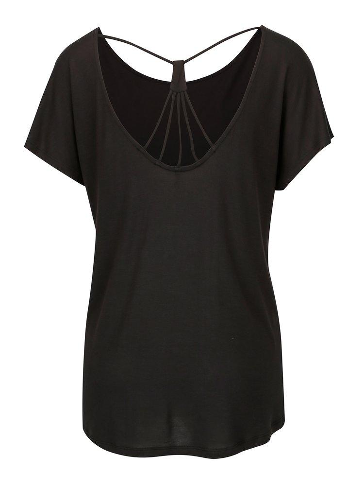 Tricou negru cu snur decorativ la spate - ONLY Carrie