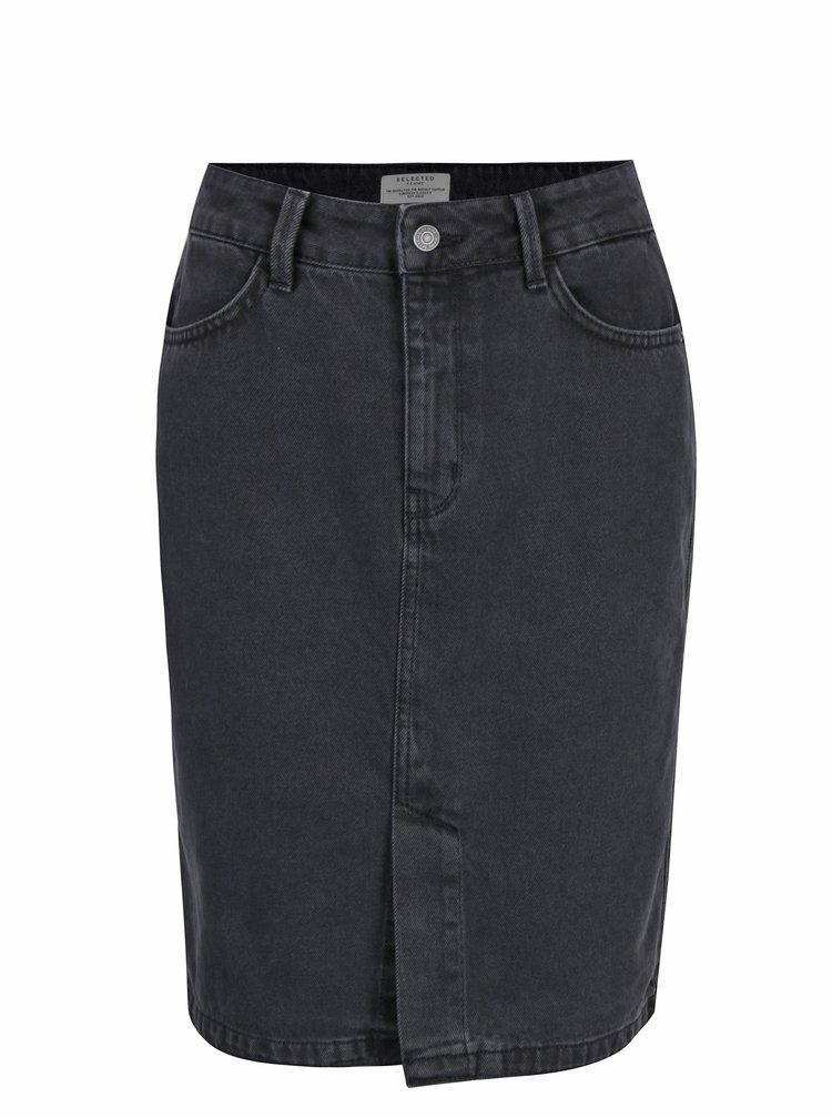 Tmavě šedá džínová sukně Selected Femme Haley