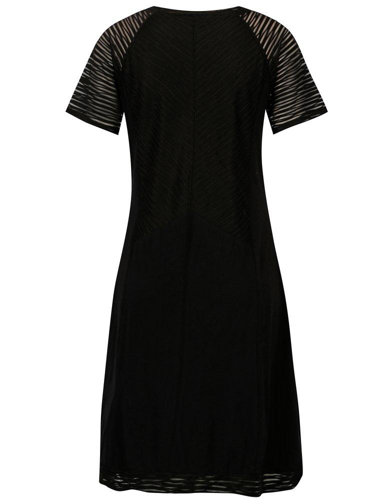 Černé šaty s průsvitnými rukávy YEST