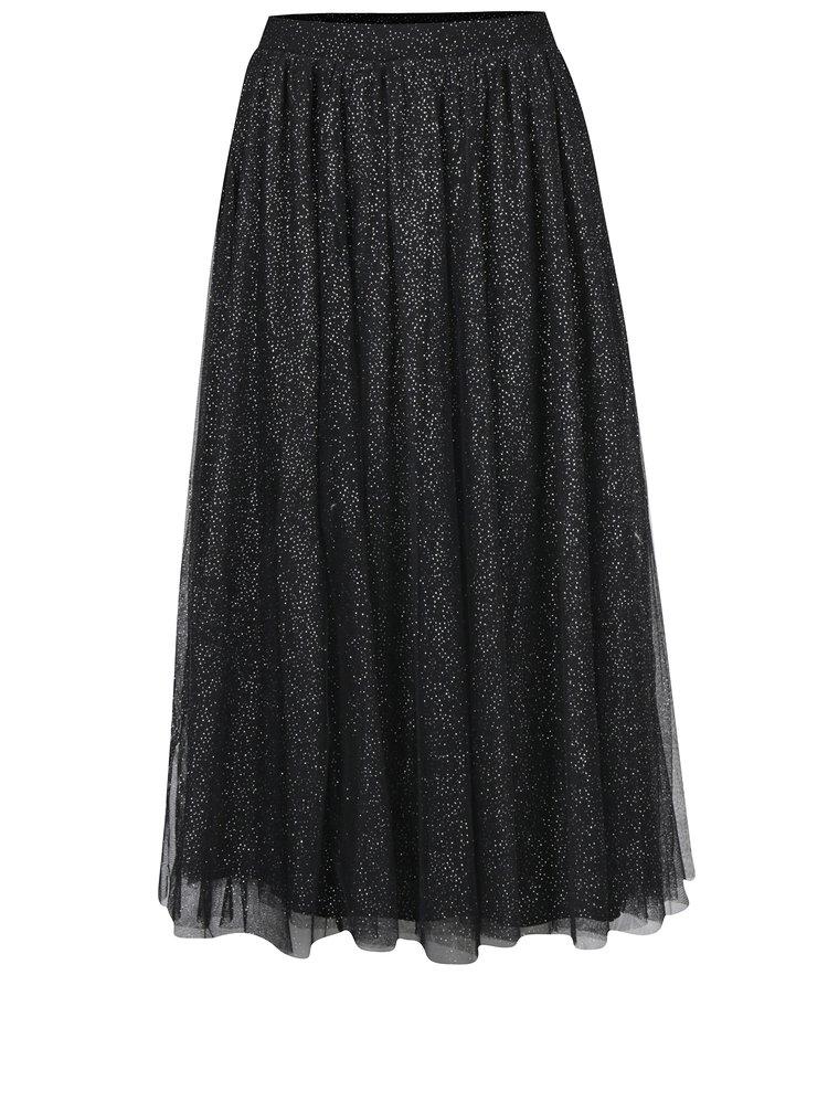 Černá tylová midi sukně s třpytkami Dorothy Perkins