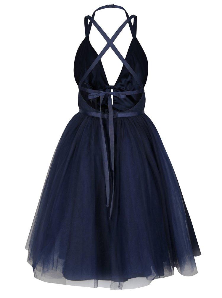 Tmavomodré šaty s odhaleným chrbtom Chi Chi London Ivonette