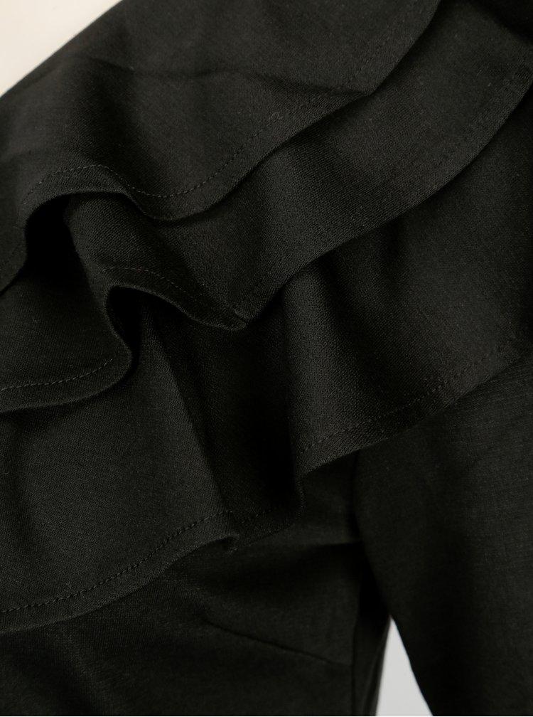 Čierne asymetrické šaty s volánmi VILA Lissy