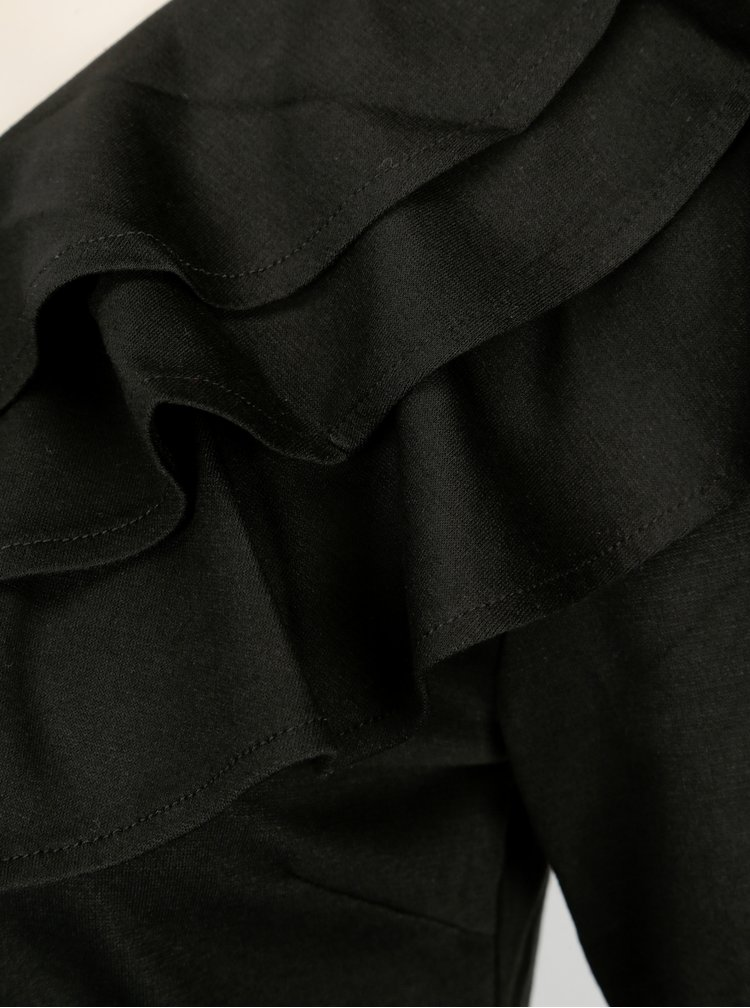 Černé asymetrické šaty s volány VILA Lissy
