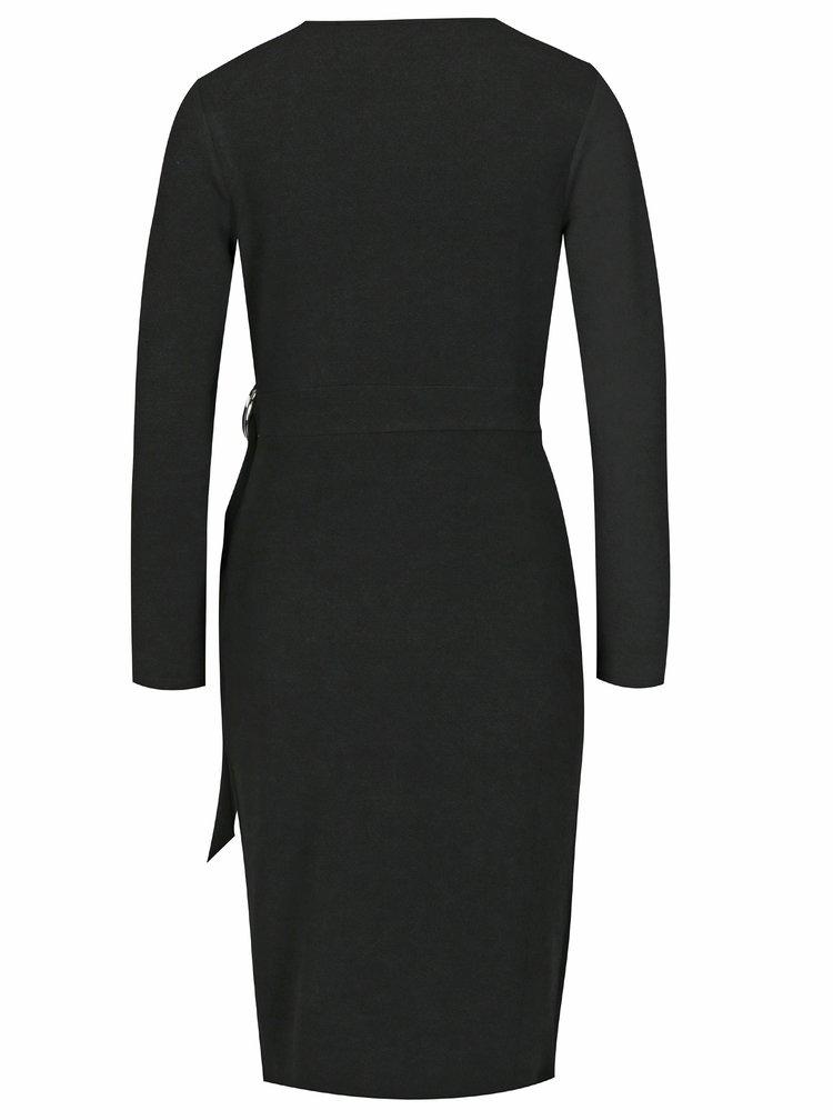 Černé pouzdrové zavinovací šaty Dorothy Perkins