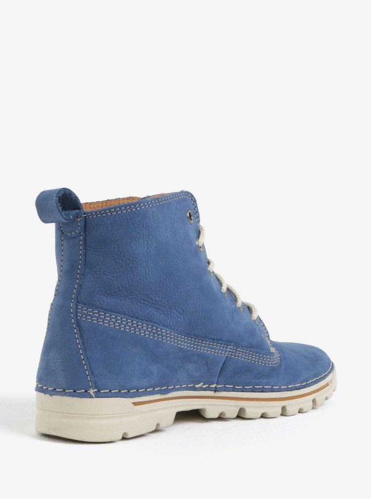Modré dámské kožené kotníkové boty Weinbrenner