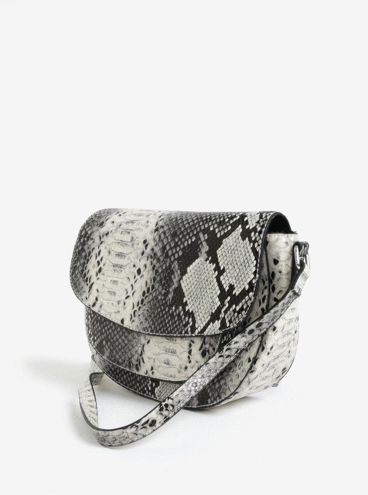 Černo-krémová crossbody kabelka s hadím vzorem Pieces Deedee