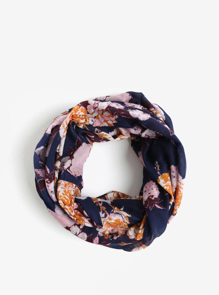Růžovo-modrá květovaný dutý šátek Pieces Gista