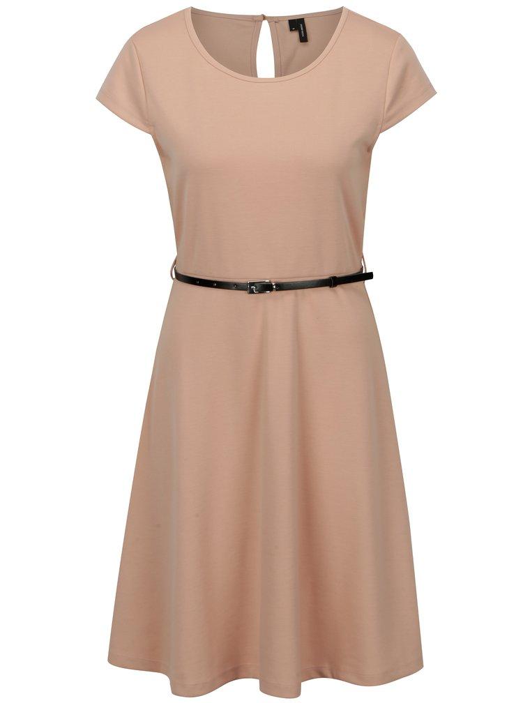 Starorůžové šaty s páskem VERO MODA Vigga