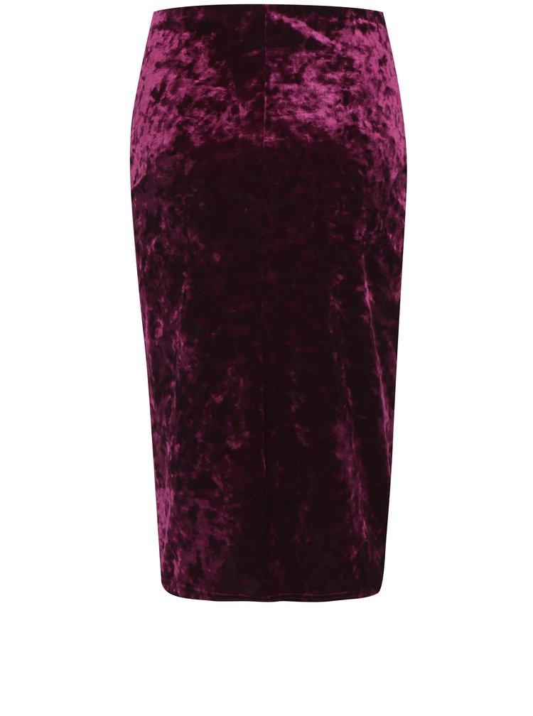 Vínová sametová pouzdrová sukně Dorothy Perkins