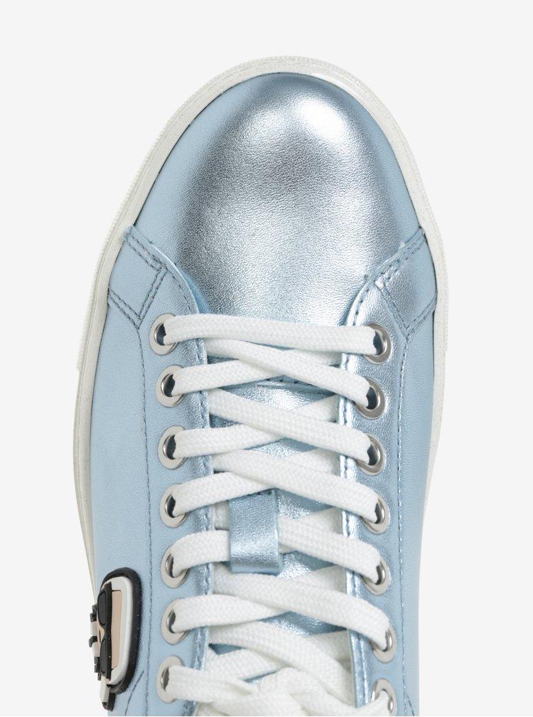 Modré metalické kožené tenisky s nášivkou KARL LAGERFELD Kupsole