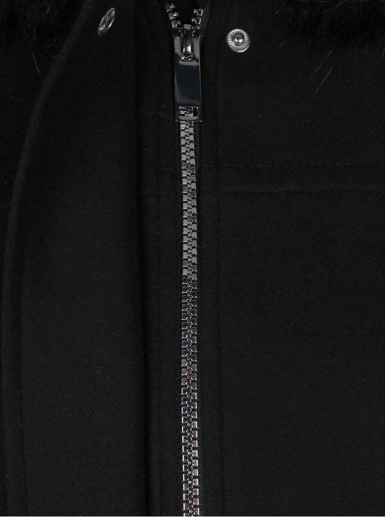 Černý krátký kabát s kapucí Dorothy Perkins