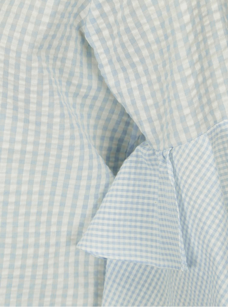 Krémovo-modrá kostkovaná halenka s volány na rukávech ONLY Freja