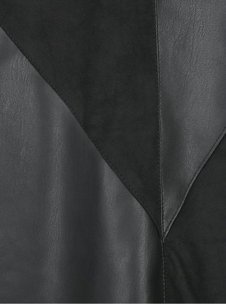 Černá sukně s koženkovými detaily VILA Sonia
