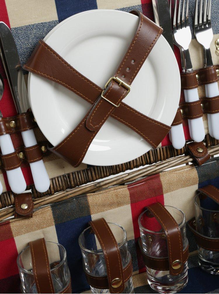 Hnědý proutěný piknikový koš pro 4 osoby Cilio