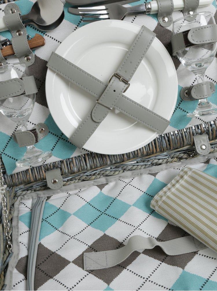 Šedý malý proutěný piknikový koš pro 2 osoby Cilio