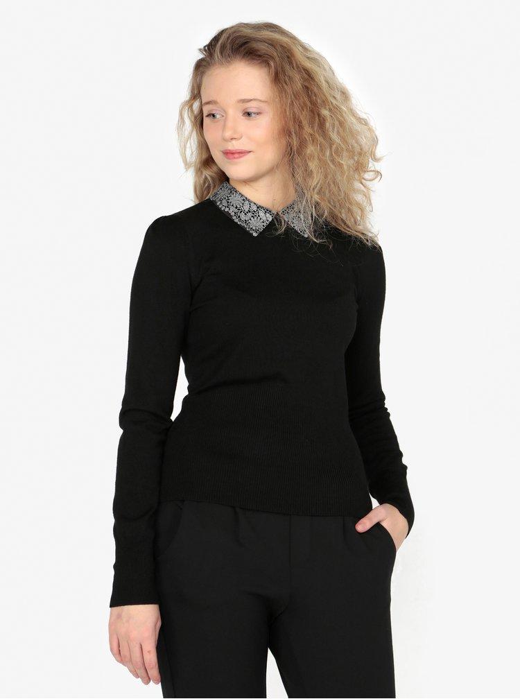 Pulover negru cu guler din dantela Oasis Mettalic